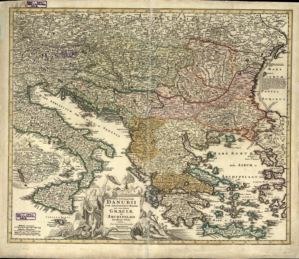 Fluviorum in Europa pricipis Danubii cum adiacentibus regnis nec non totius Graeciae et Archipelagi : Novissima tabula