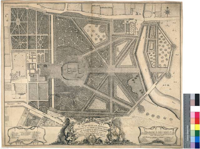 Plan General du Palais & Jardins de Kensington : situé dans le contpé de Middlesex a 2 miles de Londres tres Exactement [Mapa]
