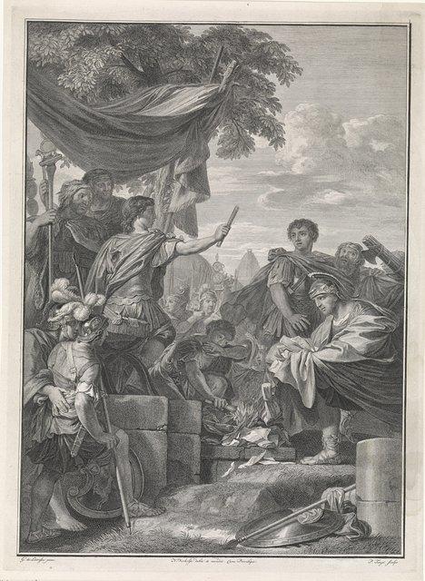 Pompeius laat de brieven van Marcus Peperna verbranden