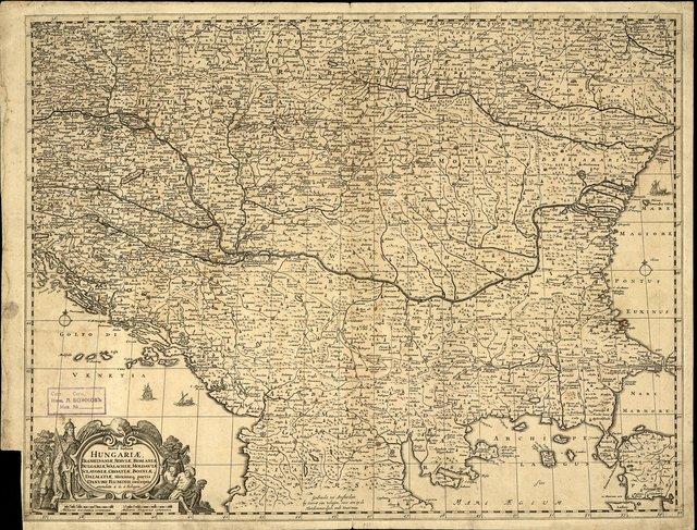 Nova totius Hungariae, Transilvaniae, Serviae, Romaniae, Bulgariae, Walachiae, Moldaviae, Sclavoniae, Croatiae, Bosniae, Dalmatiae,maximaeq partis Danubii fluminis : Карта
