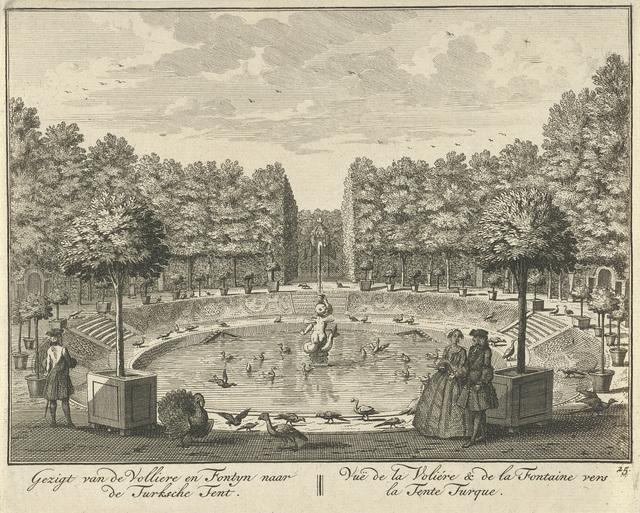 Gezicht op de grote fontein en de Turkse Tent in de tuin van Huis ter Meer te Maarssen