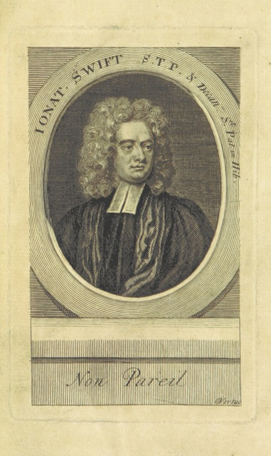 """portrait from """"Dean Swift's Literary Correspondence, for twenty-four years; from 1714 to 1738. Consisting of original letters to and from Mr. Pope, Dr. Swift, Mr. Gay, Lord Bolingbroke, Dr. Arbuthnot, etc. [Edited by Edmund Curll.]"""""""