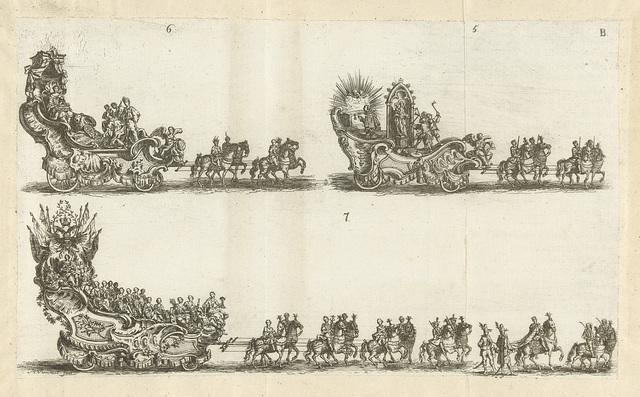 Drie praalwagens, genummerd 5-7, 1749