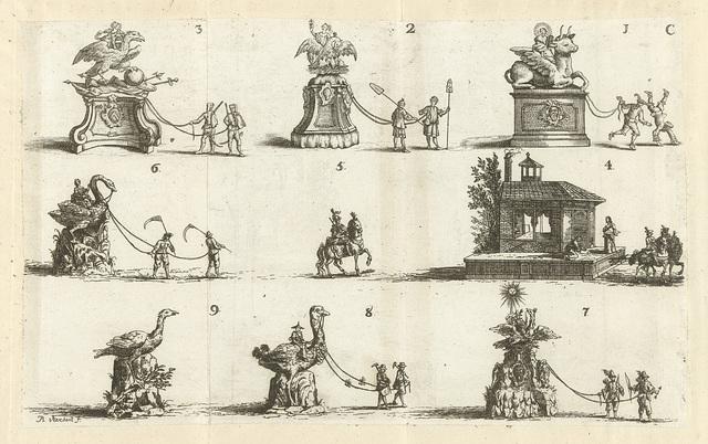 Negen vertoningen, genummerd 1-9, 1749