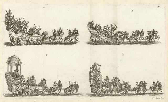 Vier praalwagens, genummerd 1-4, 1749