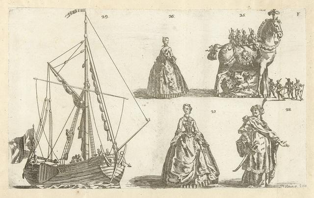 Vijf figuren, genummerd 25-29, 1749