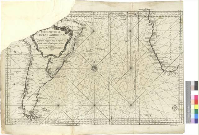 Carta reduite de L'Ocean Meridional : contenant toutes les costes de L'Amerique Meridional depuis L'Equateur jusqu'au 57 Degre de Latitude et les costes d'Afrique qui leur sont opposees: pour servir aux Vaisseaux du Roy