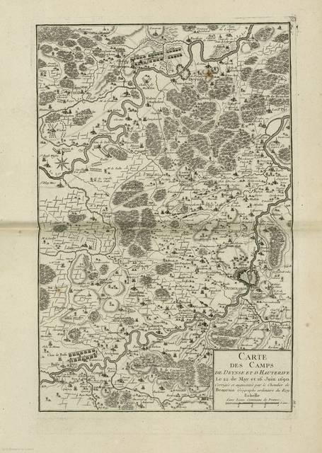 Carte des camps de Deynse et d'Hauterive : Le 22. de May et 16. Juin 1690< : [carte de campagne]