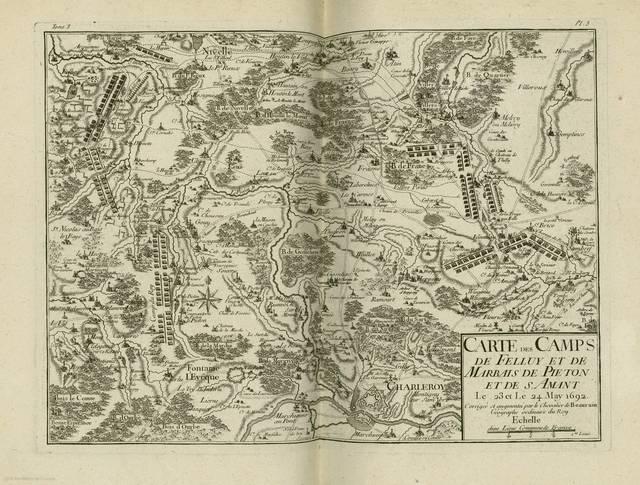Carte des camps de Felluy et de Marbais de Pieton et de S. Amant : le 23 et 24 May 1692 : carte de campagne