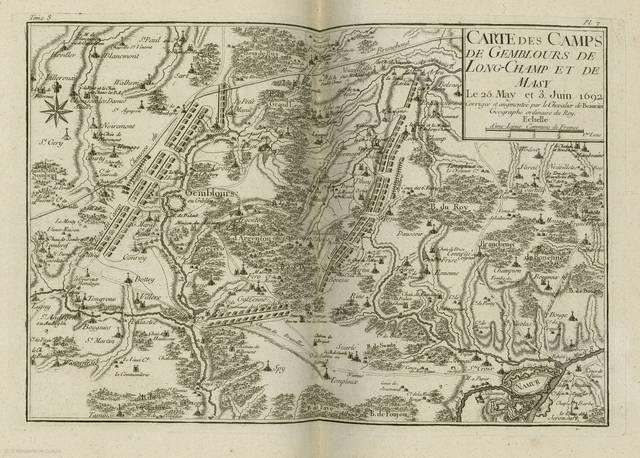 Carte des camps de Gemblours de Long - Champ et de Masy : de 25 May et 3 Juin 1692< : [carte de campagne]
