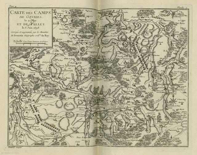 Carte des camps de Gevries le 21 May et de Felluy le 3 Juin 1693 : [carte de campagne