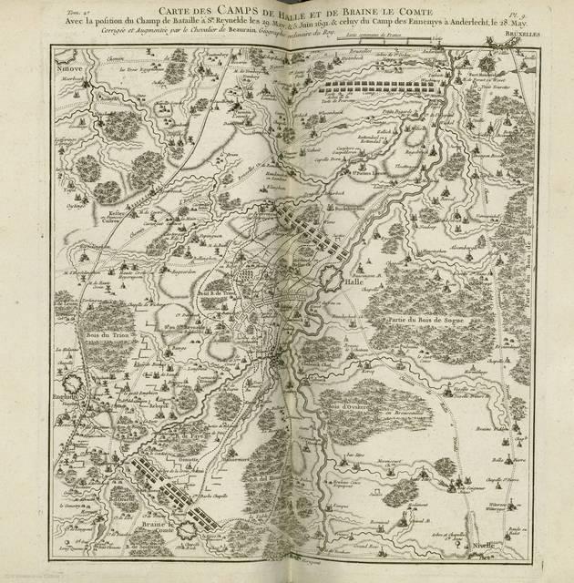 Carte des camps de Halle et de Braine le Comte : avec la position du champ de bataille á Ste. Reynelde les 29 May & 5 Juin 1691 & veluy du camp les epnemys á Anderlecht, le 28 May< : [carte de campagne]