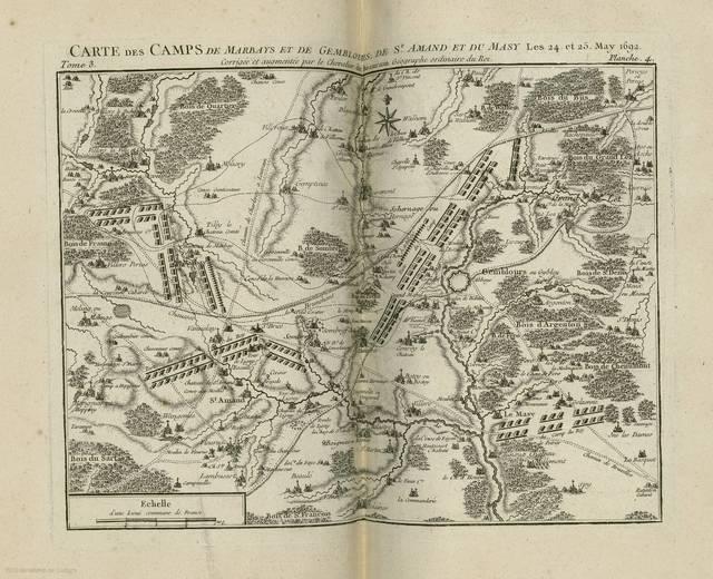 Carte des camps de Marbays et de Gemblours, de St. Amand et du Masy : les 24 et 25 May 1692< : [carte de campagne]