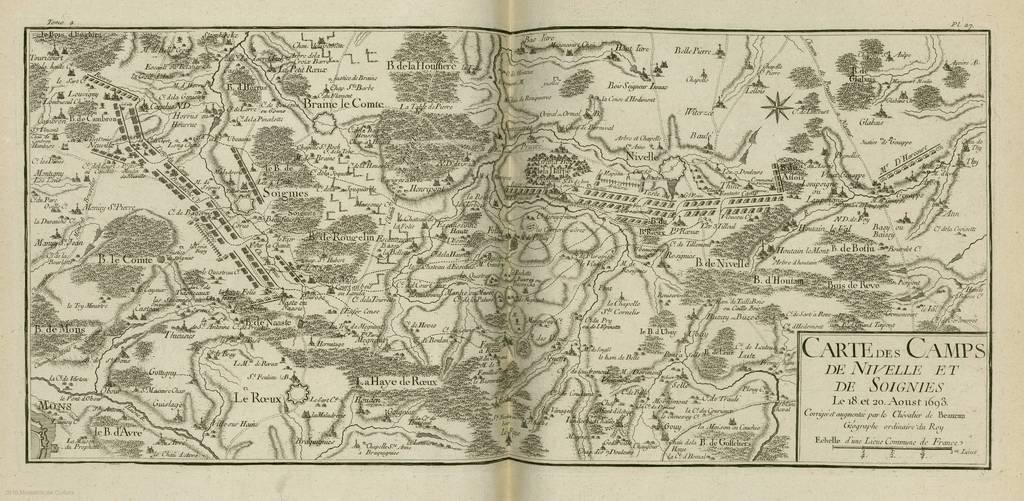 Carte des camps de Nivelle et de Soignies : le 18 et 20 Aoust 1693< : [carte de campagne]
