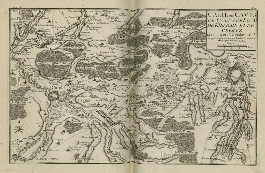 Carte des camps de Quevy de Bossu de Kievrain et de Perwez : les 13, 14 et 15 Octobre 1693