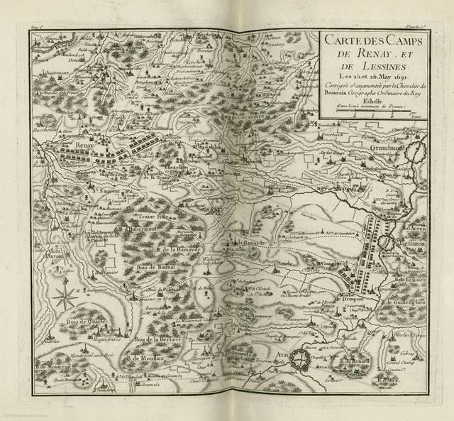 Carte des Camps de Renay et de Lessines : Les 25 et 26 May 1691< : [carte de campagne]