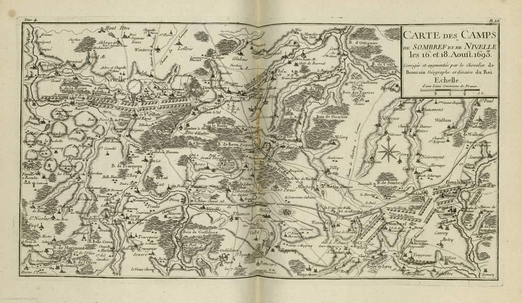 Carte des camps de Sombref et de Nivelle : les 16 et 18 Aoust 1693< : [carte de campagne]
