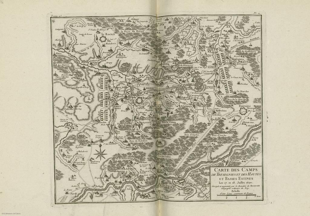 Carte des camps de Tresegnies et des Hautes et Basses Estines : Les 17. et 18 Juillet 1690< : [carte de campagne]