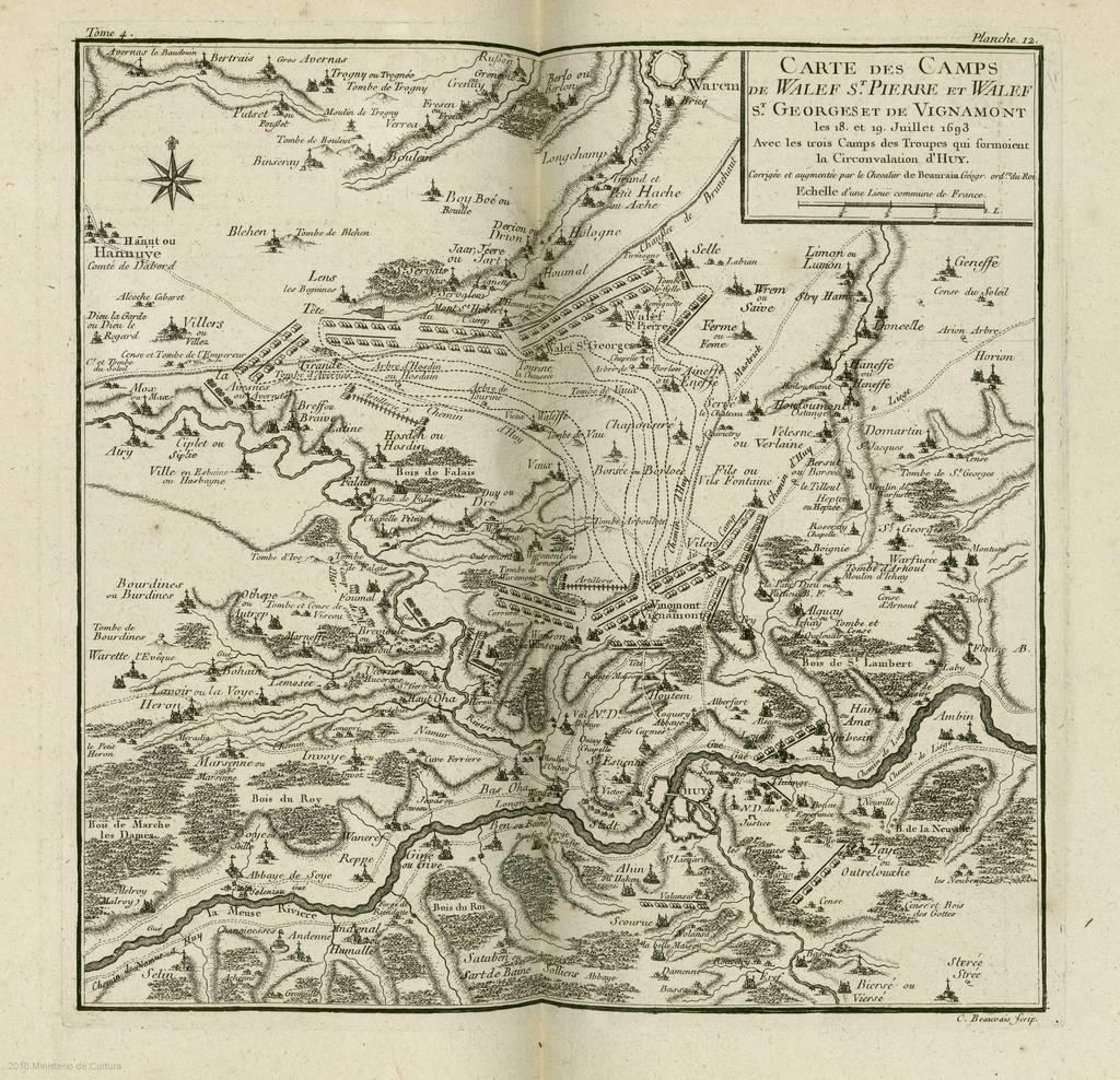 Carte des camps de Walef St. Pierre et Walef St. Georges et de Vignamont avec... Circonvalation d'Huy : les 18 et 19 Juillet 1693 : [carte de campagne]