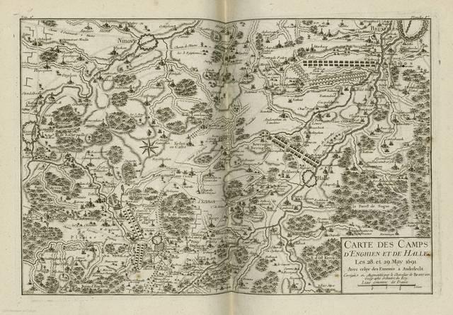 Carte des camps d'Enghien et de Halle : les 28 et 29 May 1691< : [carte de campagne]