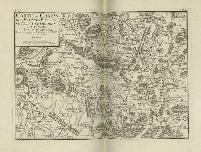 Carte des camps des Estinnes Basse et de Felluy de Gevries et Pieton : le 15 et 23 May 1692< : [carte de campagne]