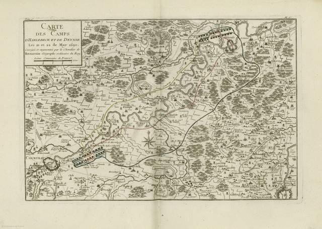 Carte des camps d'Harlebeck et de Deynse : Les 21 et 22 de May 1690< : [carte de campagne]