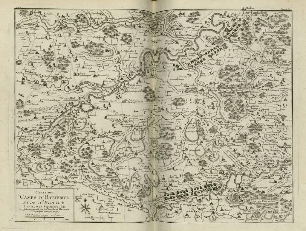 Carte des Camps d'Hauterive et de St. Eloi vive : les 24 et 27 september 1691 : [carte de campagne]