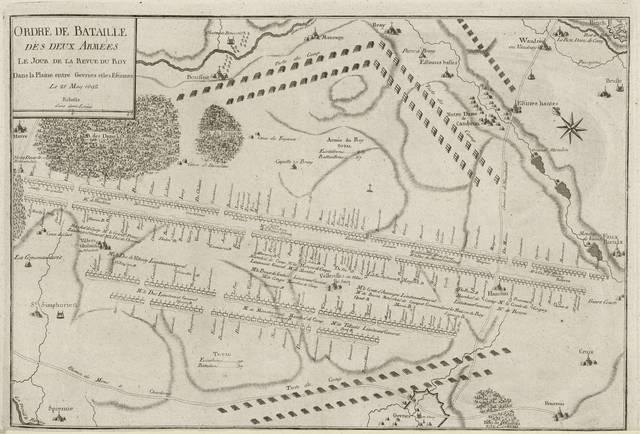 Ordre de bataille des deux armées le four de la revue du Roy dans la plaine entre Gevries et les Estinnes : le 21 May 1692< : [carte de campagne]