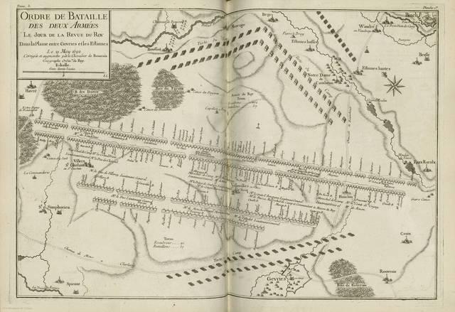 Ordre de bataille des deux Armées le jour de la revue du Roy dans la plaine entre Gevries et les Estinnes : le 21 May 1962< : [carte de campagne]