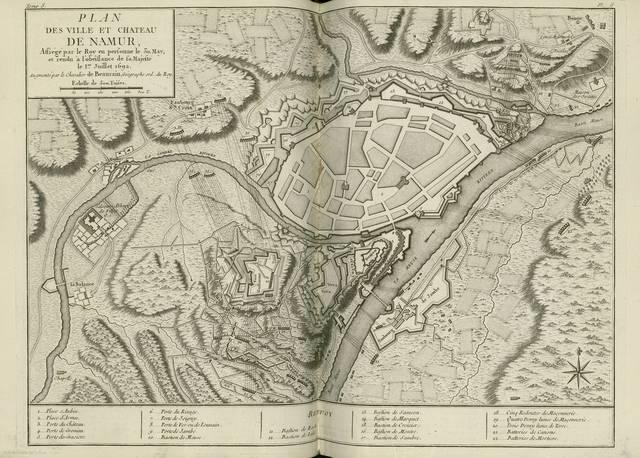 Plan des ville y chateau de Namur, assiegé par le Roy en personne le 30, May, et rendú a l'obeissance de sa Majesté le 1er. Juillet 1692