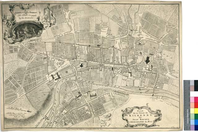 A Survey of the City of Kilkenny [mapa] By John Rocque, Chorographe to His Majesty = Plan De la Ville De Kilkenny Par Jean Rocque, Chorographe du Roi ; G. Byrne Sculpt