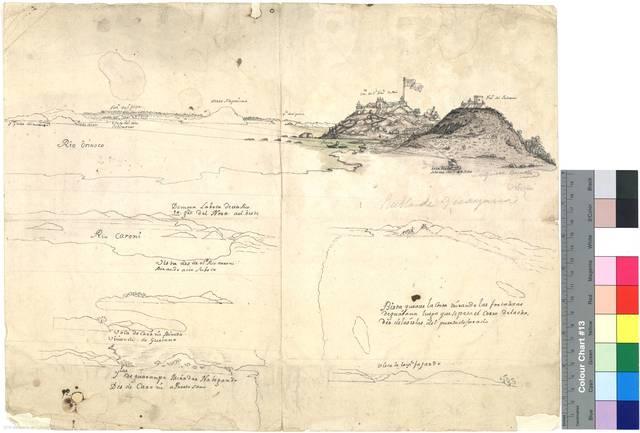 Bista queaze la Costa mirando las fortalezas deguayana luego que se pasa el cerro delacha, des delas islas del puerto de jurado