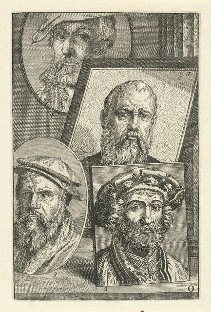 Portret van Jan Cornelisz. Vermeyen, Jan Gossaert, Joos van Cleve en Heinrich Aldegrever