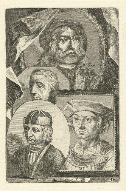 Portretten van Albert van Ouwater, Dieric Bouts, Rogier van der Weyden en Albrecht Dürer