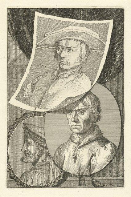 Portretten van Cornelis Engebrechtsz., Bernard van Orley en Lucas van Leyden