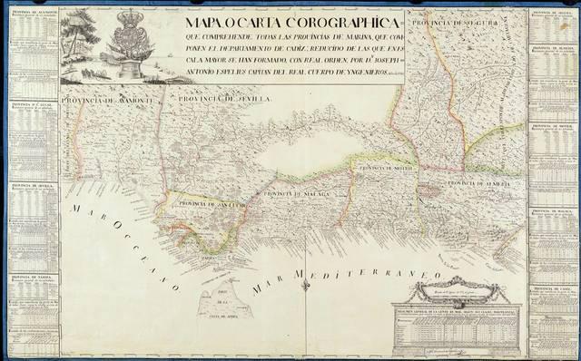 Mapa o carta corographica que comprehende todas las provincias de marina, que componen el departamento de Cadiz