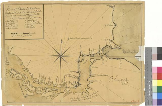 Plano del Estrecho de Magallanes : emendado en el año de 1765 desde el Cabo de las Virgenes hasta el Cabo Forchudo