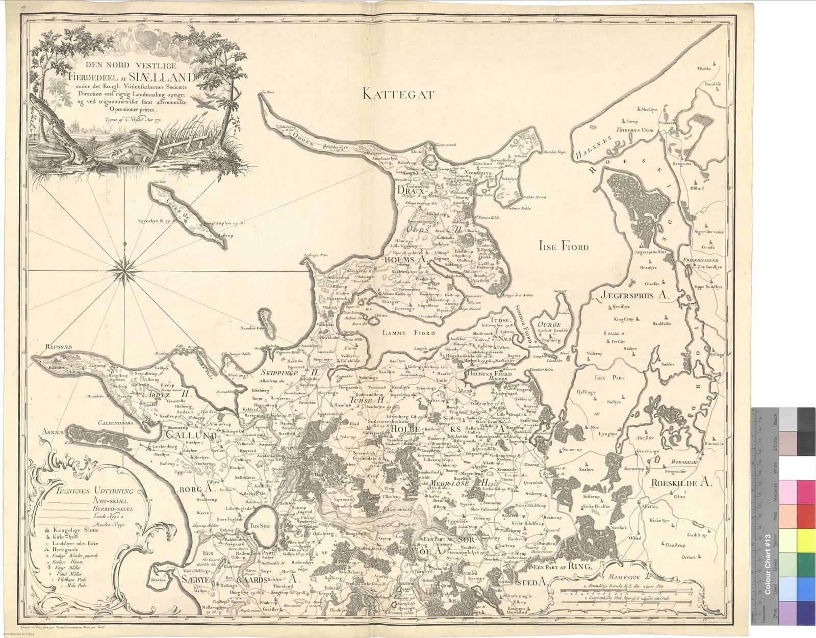 Den Nord Vestlige Fierdedeel af Siaelland under det Kongl. Viidenskabernes Societets Direction ved rigtig Landmaalind optaget og ved trigonometriske famt astronomiske Operationer pröver [Mapa]