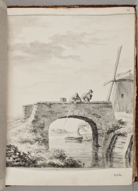 Schets: vissende man op stenen brug / door V. [Janszoon] van der Vinne (1738-1811)