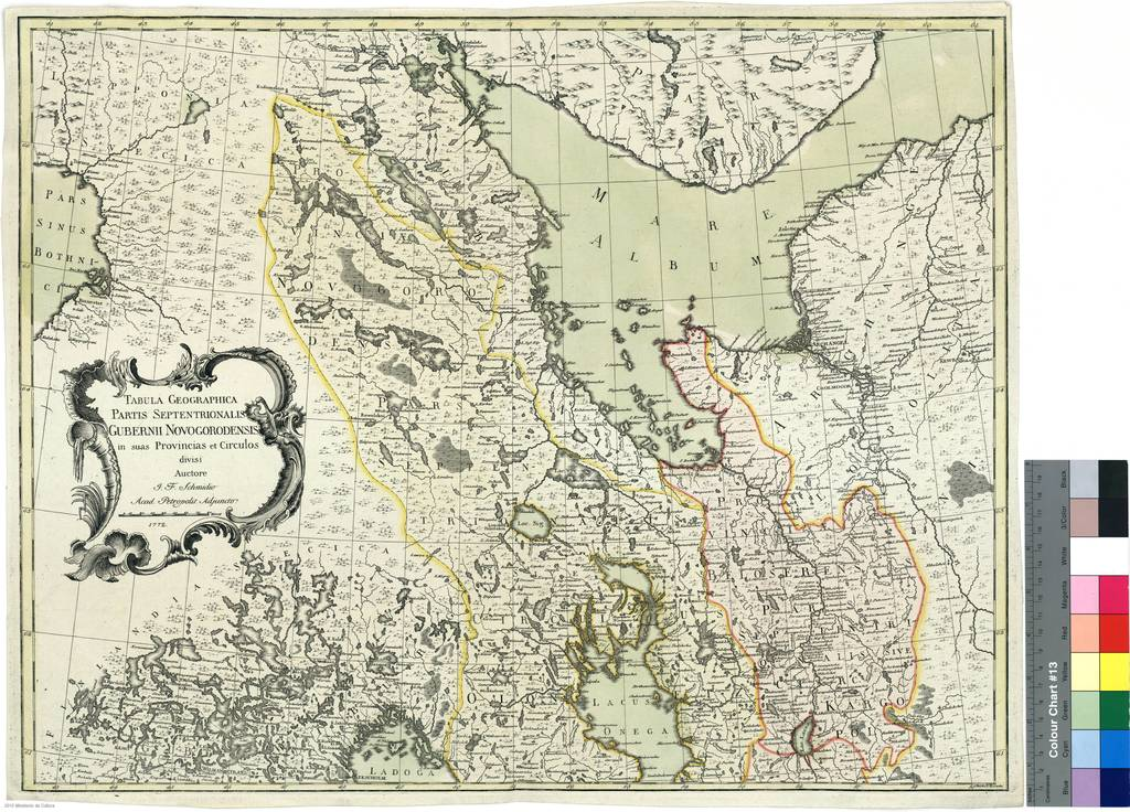 Tabula Geographia partis Septentrionalis Gubernii Novogorodensis in suas Provincias et circulos divisi