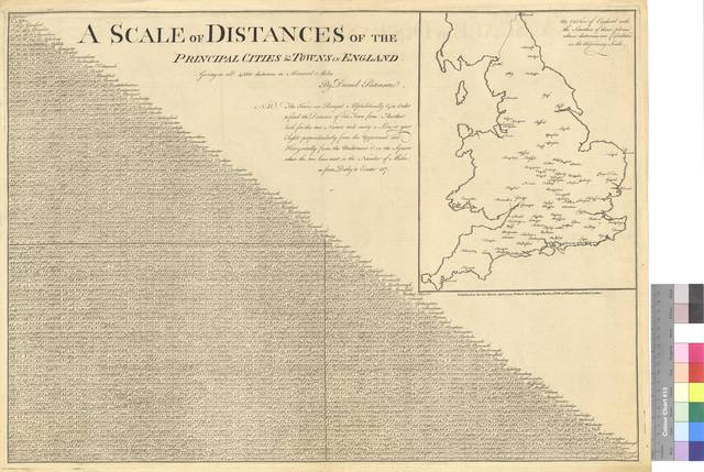 A Scale of Distances of the Principal Cities & Towns in England Giving in all 4560 distances in Measurd Milles [Mapa]