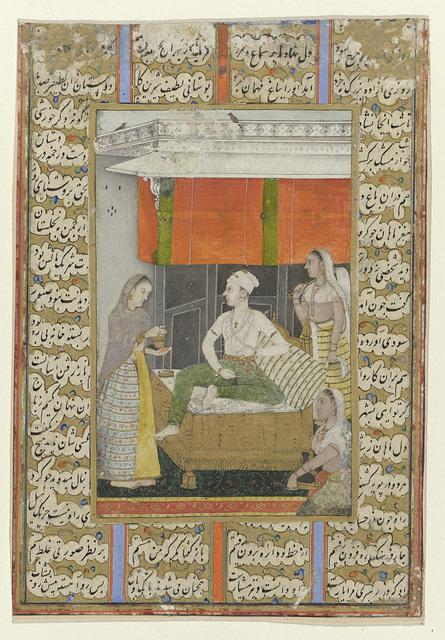 Raga, een man zittend op een bank wordt omringd door drie vrouwen