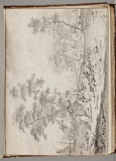 Schets van een aanzicht op een dorpgemeenschap met boerderijen / door H[endrik de] Meijer (1737-1793)