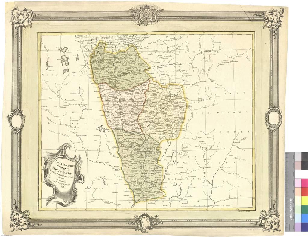 Tabula Geographica Gubernii Mohileviensis in Snos provincias divisi [Mapa]