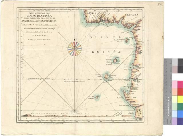 Carta reducida del Golfo de Guinea : donde entre otras islas, está la de Annobon, y la de Fernando del Pó, cedidas al Rei N.S. por la Reina Fidelisima, en virtud del Articulo XIII del Tratado de Amistad, Garantía y Comercio, concluido entre las dos Cortes en 24 de Marzo de 1778 [Mapa]