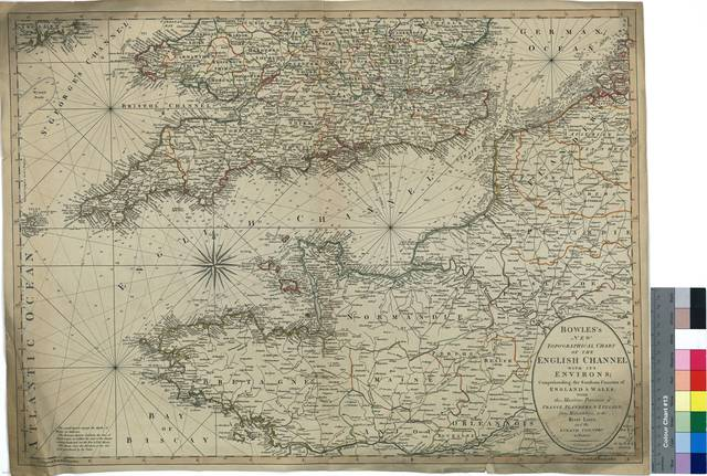 Bowles's New Topographical Chart of the English Channel with it's Environs : Comprehending the Southern Counties of England & Wales, with the Maritime Provinces of France Flanders, & Zeeland, from Helveotsluys, to the River Loire, and the Island Country to Paris [Mapa]