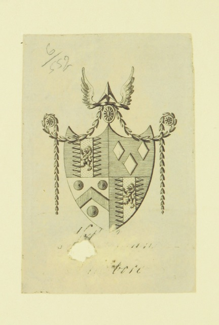 """coat of arms from """"Miscellaneous Poems, translations, and imitations"""""""