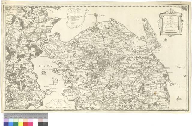 Kort over den nordlige Deel af Fyen med tilgraendsende Kyster af Jylland og Schleswig under det Kongl. Viidenskabernes Societets Direction ved rigtig Landmaaling optaget og ved trigonometriske samt astronomiske operationer prövet [Mapa]