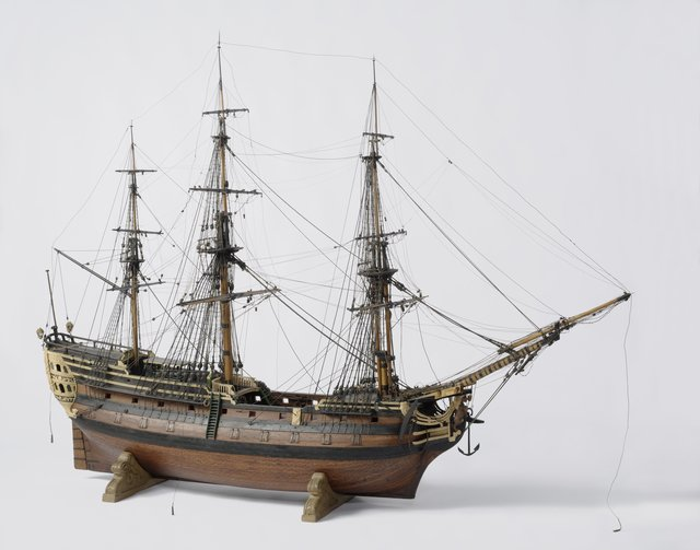 Model of the 40-gun East Indiaman Vergelijking Amsterdam, 1780 wood, brass, iron, glass, rope, leather The administrators of the Naval Models Room not only commissioned new models, but also 'improved' existing ones. During the 19th century this model of an 18th- century East Indiaman was fitted with an emergency foremast and lightning conductors by J.P. Asmus. The Dutch East India Company had no ship called Vergelijking (Comparison) in its service. The name suggests that the model may have been intended to illustrate new ship-building techniques.