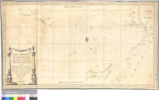 Carta reducida que comprende desde las Costas de Africa y España fronteras á las Islas Canarias y Azores hasta los meridianos de estas [Mapa]
